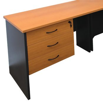 Corporate Fixed Drawer Unit, 3 Personal Drawers, Beech and Ironstone Colours