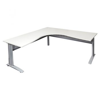Corner Workstation Off-White Top Silver Base