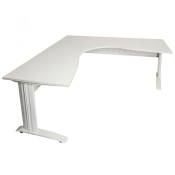 Smart Corner Workstation Off-White Top White Base