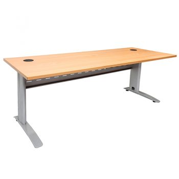 Smart Desk Beech Top Silver Base