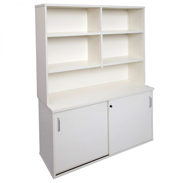 Smart Sliding Door Credenza and Hutch Package, Off-White