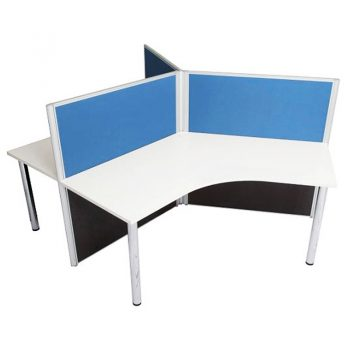 Smart Three Way Workstation Pod, Blue Screens