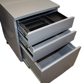 Super Heavy Duty Metal Mobile Drawer Units, Silver, Open