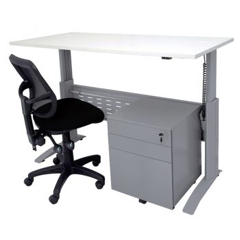Smart 'Sit Stand' Desk, Surrey Chair and Drawer Unit Package, Silver Frame, White Desk Top