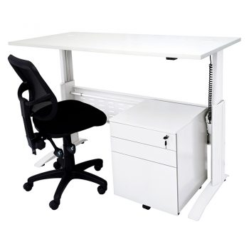Smart Electric Height Adjustable Desk, Drawer Unit and Surrey Chair Package
