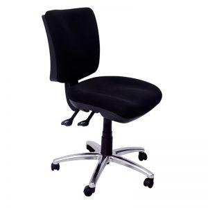 Pivot Medium Back Chair, Black Fabric, Polished Alloy Base
