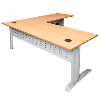 Smart Desk with (Right Hand) Attached Return Beech Top Silver Base