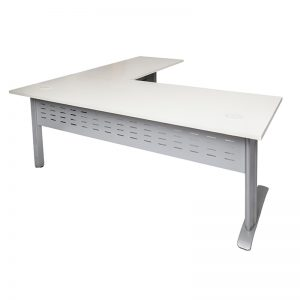 Smart Desk with (Right Hand) Attached Return Off-White Top Silver Base