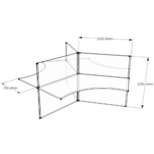 CAD Drawing 3 Way Desk