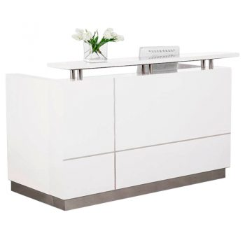 Aria White Gloss Reception Desk