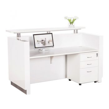 Aria White Gloss Reception Desk, Inside. Shown with Optional Drawer Unit