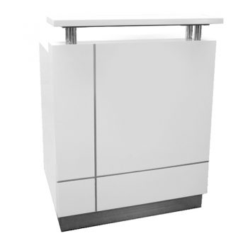 Una White Gloss Compact Reception Desk