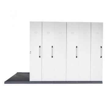 Core Mobile Sliding Storage Unit, 6 Bay Front View