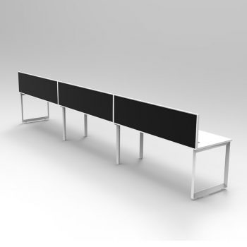 Modular Loop Leg Desk, 3 Person with Screen Divider, Rear View