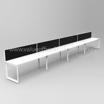 Modular Loop Leg Desk, 3 Person with Screen Dividers