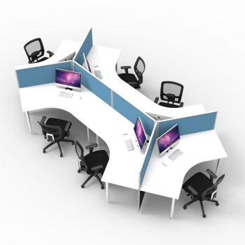 Smart 6 desk Pod, Blue Screen Dividers