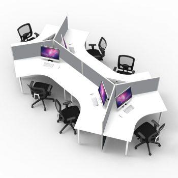Smart 6 desk Pod, Grey Screen Dividers