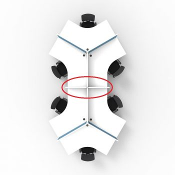 Smart 6 desk Pod, with Desk Dividers, Top View