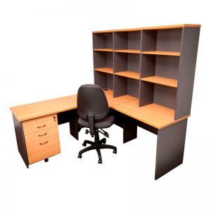 Corporate Corner Workstation, Hutch, Mobile Drawer and Chair Package