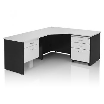 Edge Corner Workstation with Optional Drawer Units Fitted
