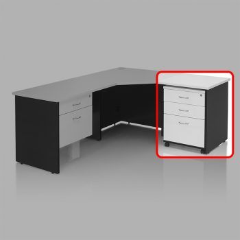Edge Mobile Drawer Unit with 2 Personal + 1 Deep File Drawer