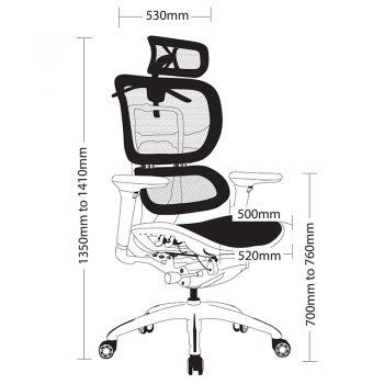 Hi-Tech Ergo Chair, Sizes