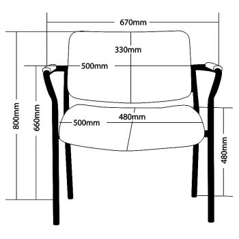 Thor 670mm Wide Chair, Sizes