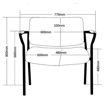Thor 770mm Wide Chair, Sizes