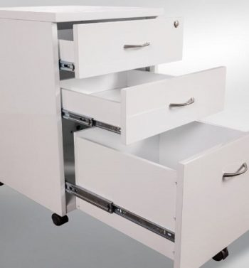 Optional White Gloss Mobile Drawer Unit, Open