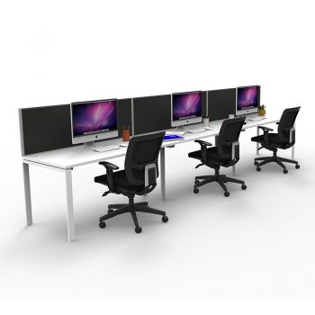 Modular Desk - 3 Person In-Line, with Screen Divider