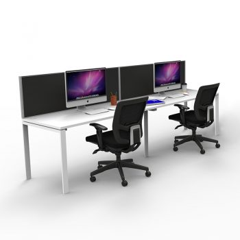 Modular Desk, 2 Person In-Line, with Screen Divider