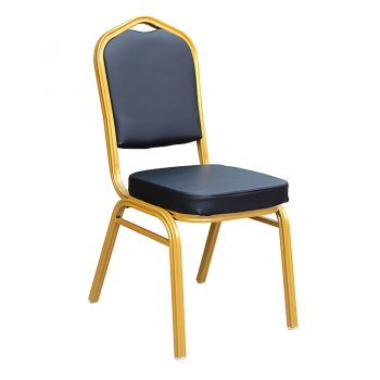 Zia Banquet Chair, Gold Frame Black PU Seat and Back