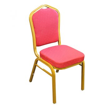 Zia Banquet Chair, Gold Frame, Red Fabric