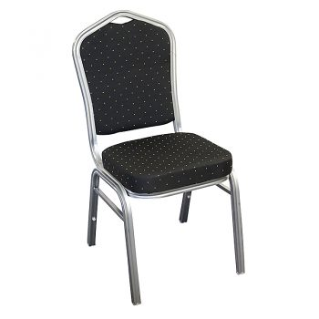 Zia Banquet Chair, Silver Frame, Black Fabric