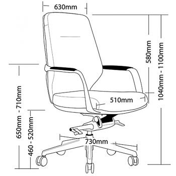 CBD Medium Back Chair Dimensions