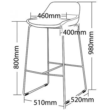 Foxy Bar Stool Dimensions