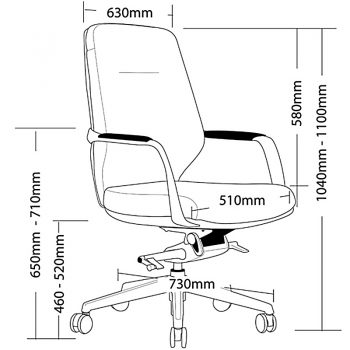 Jagger Medium Back Chair Dimensions