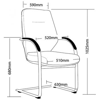 Jagger Visitor Chair Dimensions