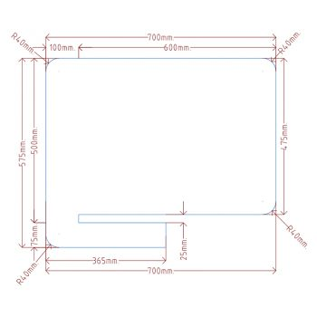 CAD Drawing to suit 600mm deep desk