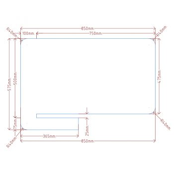 CAD Drawing to suit 750mm deep desk