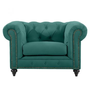 Chesterfield Lounge Chair, Emerald Velvet