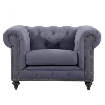 Chesterfield Lounge Chair, Slate Velvet