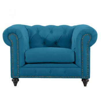 Chesterfield Lounge Chair, Turquoise Velvet