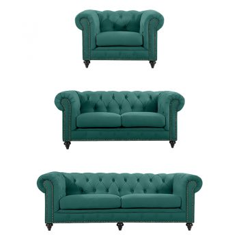 Chesterfield Lounge Range, Emerald Colour Velvet