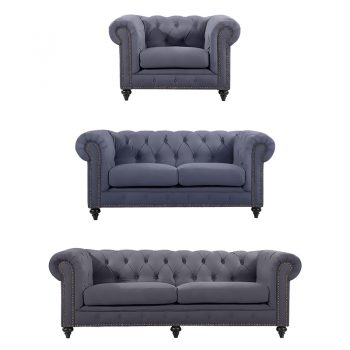 Chesterfield Lounge Range, Slate Colour Velvet
