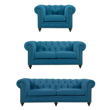 Chesterfield Lounge Range, Turquoise Colour Velvet