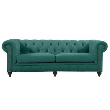 Chesterfield 3 Seater, Emerald Colour Velvet