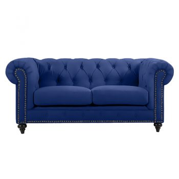 Chesterfield Two Seater, Navy Colour Velvet