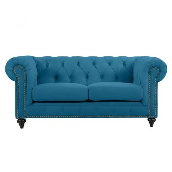Chesterfield 2 Seater, Turquoise Colour Velvet