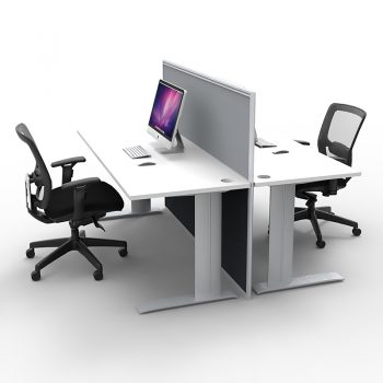 Smart 2-Way Desk Pod with One Floor Standing Screen Divider, Grey Screen